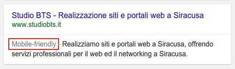 SERP Mobile Friendly Sito Web Siracusa - Studio BTS